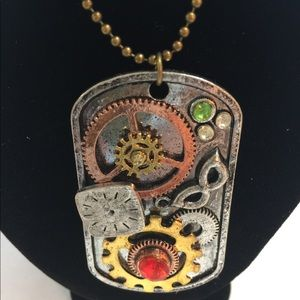Steam Punk square tag necklace w/ stones NWT